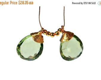 50% Off Sale 2 Pcs 22kt Gold Vermeil AAA Green Amethyst Quartz Mirror Cut Wire Wrapped Pear Briolettes, Wire Wrapped Dangles, Charm, Pendant
