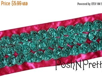 20% OFF EXP 06/30 3 inches HotPink with Aqua Scalloped Roses 3D rosette ribbon. Sale for Two Yards.