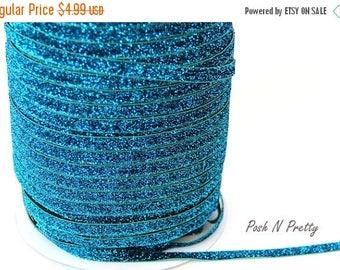 20% OFF EXP 06/30 3/8 Glitter Stretch Velvet Elastic 5 YARDS - No Flake - Turquoise