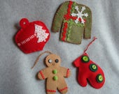 Embroidered Felt Christmas Ornaments OOAK Hand Stitched Ugly Christmas Sweater Stocking Tree Snowflake Heirloom Tree Decorations Traditional