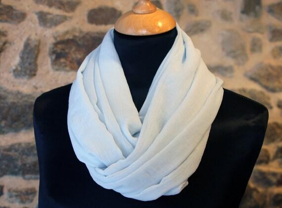 Scarf Snood in light blue silk Crepe. Bridal silk stole