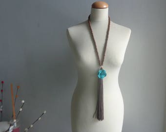 Brown tassel necklace, brown turquoise Statement necklace longer style, colorful necklace, flower necklace