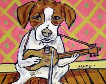 20% off storewide Jack Russell Terrier Playing Guitar Dog Art Tile Coaster