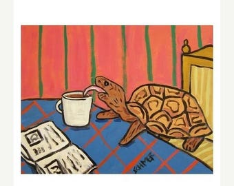 20% off Turtle at the Coffee Shop Art Print