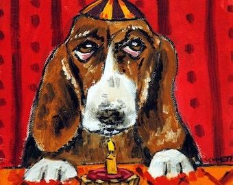 20% off Basset Hound Birthday Dog art Tile Coaster Gift