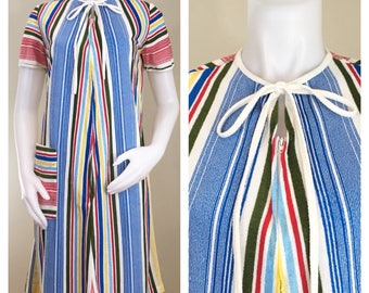 70s Primary Color Striped Terry Zip Up Short Sleeve Robe, House Coat or Swim Cover Up, Medium to Large
