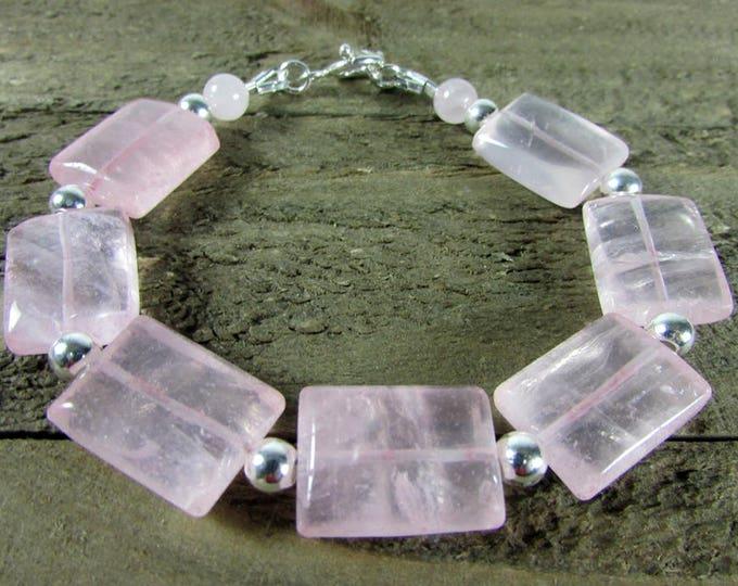 Rose Quartz Bracelet, Pink Gemstone Jewelry, Square Link Gemstone Bracelet