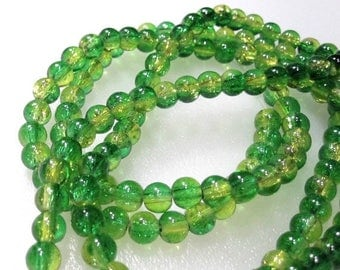 50% Off Yellow and Green 8mm clear Round Crackle Glass Beads, a Strand is 32 inches, approx 105 Round Yellow and Green Glass Beads. GBW 095E