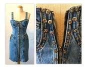 ON HOLD Vintage 80s Glam Rock Denim Dress XXS Curvy Bustier Look with Rivets and Zippers