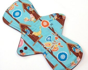 11 inch HEAVY flow Reusable Cloth Menstrual pad -bamboo core - waterproof PUL - quilter's cotton top in Blue Birdhouses