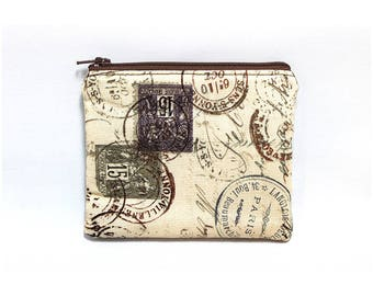 Cosmetic Case, Cord Case, Bridesmaid Gifts, All-Purpose Zipper Case, Tan and Brown Travel Stamps 9059