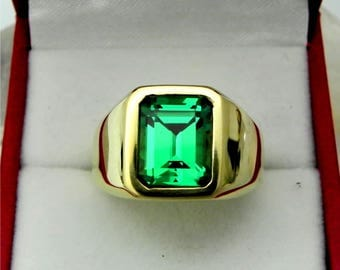AAAA Green Garnet Tsavorite Man Made 10x8mm  4.02 Carats   Heavy 14K Yellow gold Emerald cut Mans ring 15-16 grams 1734