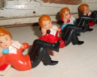 Vintage Wilton Cake Toppers - Teenagers On Phone 1960s Lot of 4, Retro Party Decor, Vintage Party, Cake Decor