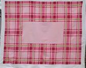 Vintage Pink Tablecloth Table Cloth  Mid Century Simtex Table Linens Plaid Stripes Striped Geometric Pink Kitchen Decor Vintage Linens