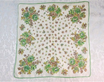 Vintage Floral Handkerchief ~ Green Brown ~ Hand Rolled Hankie ~ Mid Century Clothing Accessories ~ Retro Mod