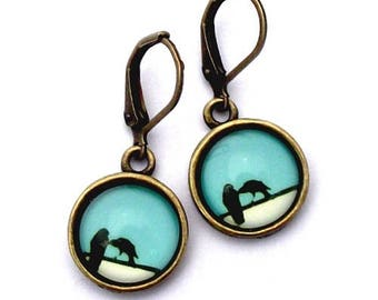 Two Crows Glass Photo Earrings  Nickel Safe