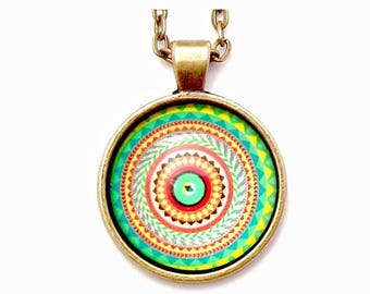 "Green Mandala Photo Glass Necklace 30"" Antiqued Bronze Chain"