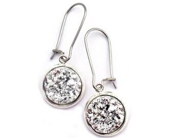 Silver Nugget Faux Druzy Earrings Stainless Steel Kidney Earwires