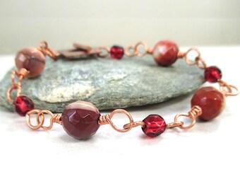 Earthy Boho Bracelet, Jasper Mookaite Stones, Red Beads, Gemstones, Rustic Copper Toggle Clasp, Link Bracelet, Bohemian Gift for Women B164