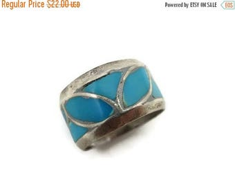 OnSale Turquoise Enamel Ring - Silver Band Statement Ring