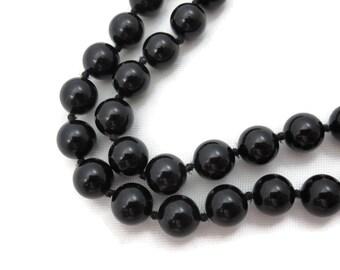 Black Onyx Necklace - 14k Gold Clasp Beaded Strand Necklace Fine Jewelry