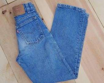 Vintage Kids Jeans  // Vtg 70s 80s Child Sized LEVI'S Made in the USA Distressed Slim Fit 505 Jeans