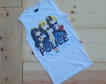 Vintage POLICE T-Shirt //  Rare Vtg 80s Made in the USA Synchronicity 1983 North American Concert Tour Sleeveless Muscle Tee  //  XS
