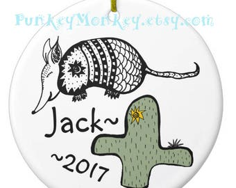 Armadillo cactus Personalized ornament custom personalized Christmas ornaments ceramic holiday ornaments rustic desert armadillos southwest