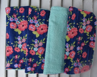 Set of 4  Washcloths,Reusable Wipes, Dishcloths Blue and Pink Floral Print