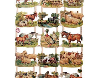 Paper Scraps Germany Die Cut Paper Lithographed Victorian Animals 7295