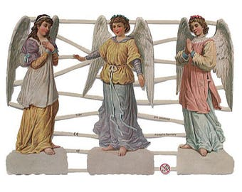 Germany Lithographed  Die Cut Paper Angel Christmas Easter Scraps  7284