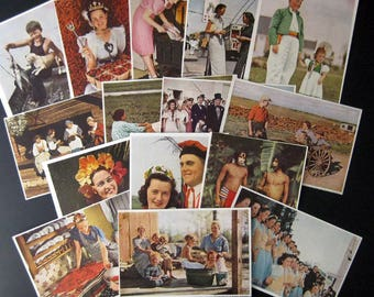 15 vintage coloured National Geographic clippings 1938 to 1942 People from around the World for your art projects