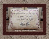Angels Gather Saying-Primitive Stitchery Pattern E-PATTERN-by Primitive Stitches-Instant Download