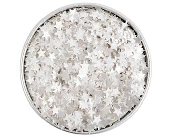 White Star Edible Glitter - metallic white star glitter sprinkles, edible white glitter stars, white star sprinkles