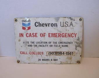 Chevron U.S.A Gas & Oil Metal Sign In Case of Emergency