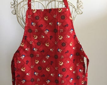 Full Body Apron Smock Children Red Pirate with NO Pocket