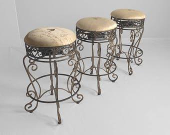 3 ornate shabby GILDED wrought iron swivel bar stools