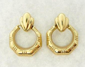 ON Hold for Melisa 14K Yellow Gold Door Knocker Pierced Earrings
