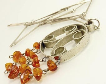 Modernist Silver & Amber Pendant Necklace Mid Century Scandinavian Style
