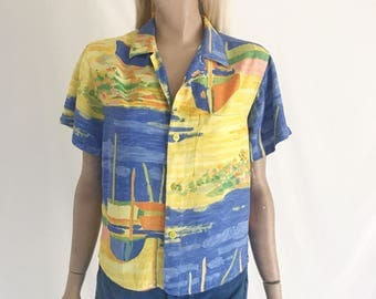 Vintage 80's/90's Jams World Cropped Blouse. Size Small