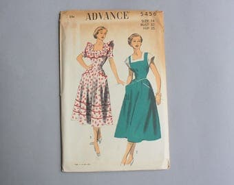 1950s Sewing Pattern / Vintage 50s Uncut Advance Pattern / Pinafore Ruffles Dress with Pockets Full Skirt 5456 small 32 bust FF sz 14