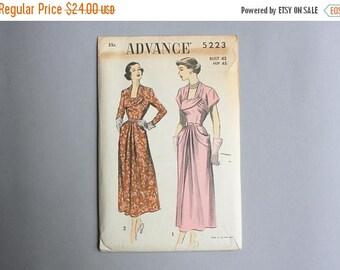 STOREWIDE SALE 1940s Dress Pattern / Vintage 40s Uncut Advance Sewing Pattern / 5223 Drapes Pockets Dress Pattern 42 Bust 36 Waist