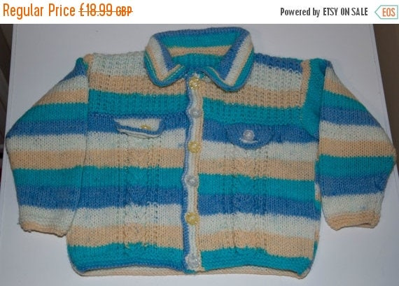 Christmas In July Handknitted Boys Cardigan in Cabled Design to fit 4-5 Year Old.