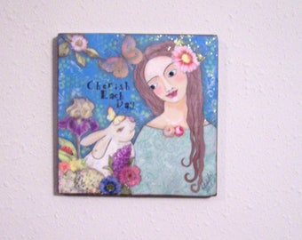 Woman Girl Portrait Painting Rabbit Bunny Flowers and Butterflies Original, one of a kind Encaustic Painting by the artist