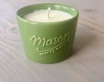 Green Mason Blueberry Cobbler Scented Soy Candle, 5oz Ceramic Bowl