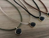 Black Druzy Stone, Druzy Choker, Pendant, Faux Suede, Adjustable Jewelry, Suede Cord Necklace, Ribbon Jewelry, Women's Necklace, Jewelry