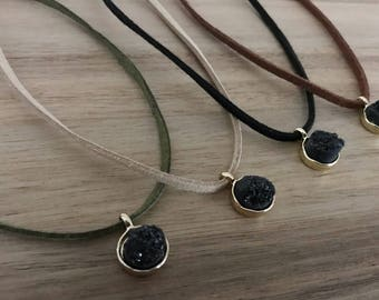 Black Druzy Stone, Druzy Choker, Pendant, Faux Suede, Adjustable Jewelry, Suede Cord Necklace, Ribbon Jewelry, Women's Necklace, Jewelry
