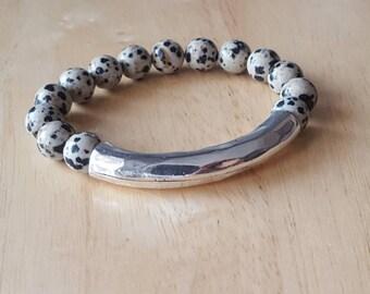 Boho jewelry, mothers day gift mom gifts from daughter, silver bar bracelet, stacking bracelet, jasper bracelet, beaded bracelet for women