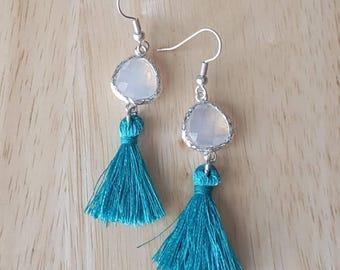 Blue tassel earrings, opal earrings dangle, fringe earrings, bead drop earrings, tassel jewelry, boho jewelry, mothers day gift mom gifts