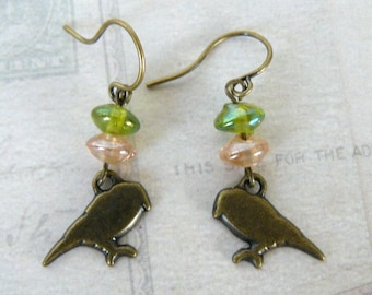 Bird Earrings, Simple Brass Bird and Glass Bead Dangles, Green and Peach, Nature Lover or Bird Lover Gift, Bird Jewelry